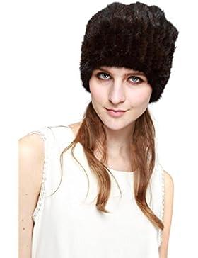 Vogueearth Mujer'Real De Punto Visón Pelaje Invierno Más Cálido Sombrero Gorra Cuello Dos Uso