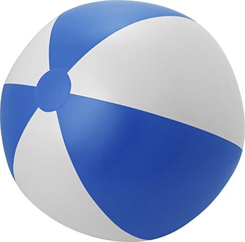 Aufblasbarer Wasserball Groß XXL Spielball 49 cm Wasserball Aufblasbar Farbwahl PHTHALATFREI (Blau-Weiss)