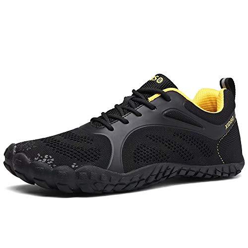 FUSHITON Herren Damen Barfußschuhe Outdoor Fitnessschuhe Trekking Schuhe Badeschuhe Schnell Atmungsaktive Trocknend rutschfeste Laufschuhe, Schwarz, 45 EU
