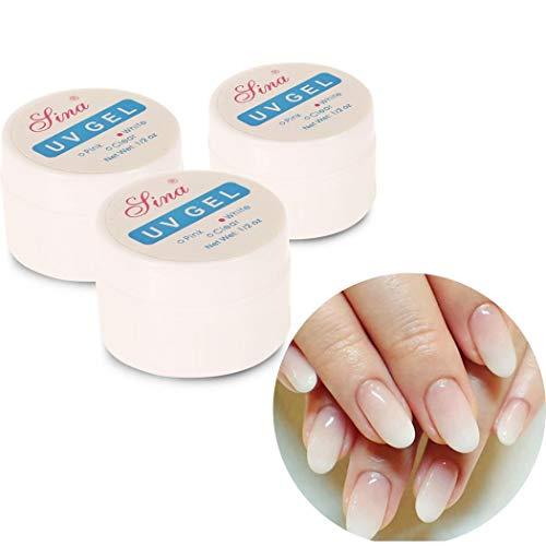 Sliwei 3 Stck Gel-Nagellack-Set - Rosa, Weiß, Klar Serie Nail Art UV-LED-Gel-Politur
