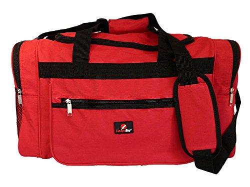 Reisetasche Mittelgroß – Wochenend- oder Übernachtungstasche - Ideale Tasche für Reisen – Seesack Tasche - Mehrere Fächer - 50 Liter Volumen, 0,8 Kg Leicht - Maße 55 x 31 x 31 cm - Rot RL57R