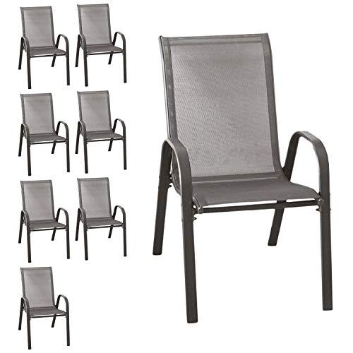 Wohaga® 8er Set Stapelstuhl \'New York\', Textilenbespannung Anthrazit, Stahlgestell pulverbeschichtet, stapelbar, Gartenstuhl
