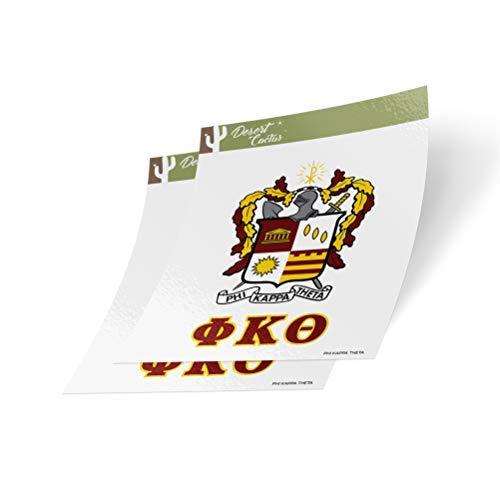Aufkleber Wüsten-Kaktus, Phi Kappa Theta Wappen und Buchstaben, 2 Stück (Poster College-wohnheim)