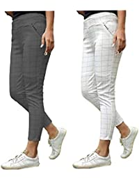 DOLPHIN DIVINE Chex Pants Trousers Tracks bottam for Women Combo Grey
