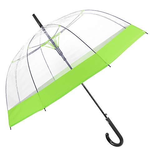 Grün Peg (Regenschirm Transparent Damen mit Buntem Rand - Durchsichtiger Kuppel Stockschirm - Sturmfest Windsicher Automatik Schirm - PEG Material - Durchmesser 89 cm - Perletti (Grün))