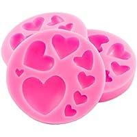 Set di 3 stampi in silicone con diversi cuoricini, per San Valentino - per sorprese, cuori di cioccolata, cubetti di ghiaccio, marzapane, fondente, glassa, anniversario, colore: Rosa