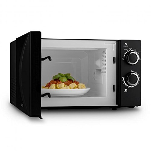 Klarstein myWave Microwave Oven • 20 Litres • 700W • Timer • 6 Power Levels • Large Viewing Window • Safety Glass • 24.5cm Turntable • Handle • Stainless Steel Housing • Black