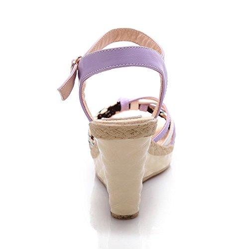 AgooLar Femme Boucle à Talon Haut Pu Cuir Tricotage Ouverture D'Orteil Sandales Violet