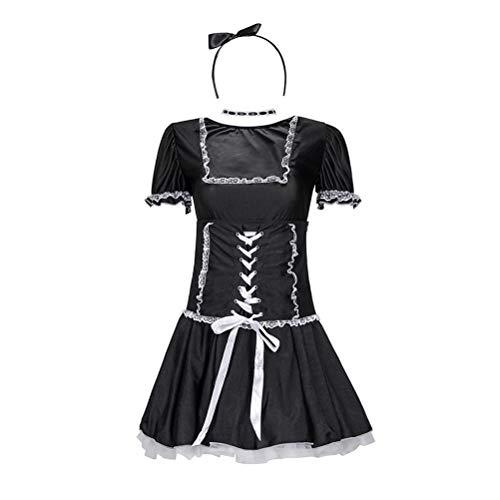 Dienstmädchen Kostüm Adult Französisch - TENDYCOCO Dienstmädchen Anzug Versuchung Spiel Outfit Stirnband Kostüm Kragen Dienstmädchen Kleid