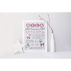 SomethingCute: Geburtsbild Design FUCHS und REH / Geschenk zur Geburt, zur Taufe, Taufgeschenk, Geburtsgeschenkt, Fine Art Print