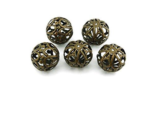 Bronze-sechs Leichte Runde Anhänger (6 filigrane Perlen in vintage Bronze, 20 mm von Vintageparts, DIY-Schmuck)