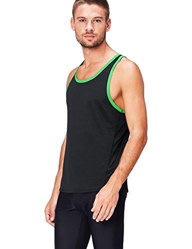 Schwarze Herren Activewear (Activewear Sporttop Herren mit gerippter Struktur und Racerback, Schwarz (Black/Apple Green), 54 (Herstellergröße: X-Large))