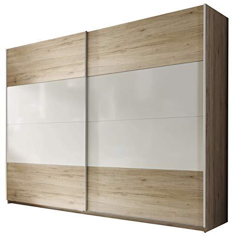 Avanti trendstore - poli - armadio spazioso ad ante scorrevoli in laminato di quercia san remo e bianco lucido, dimensioni lap 270x210x60 cm