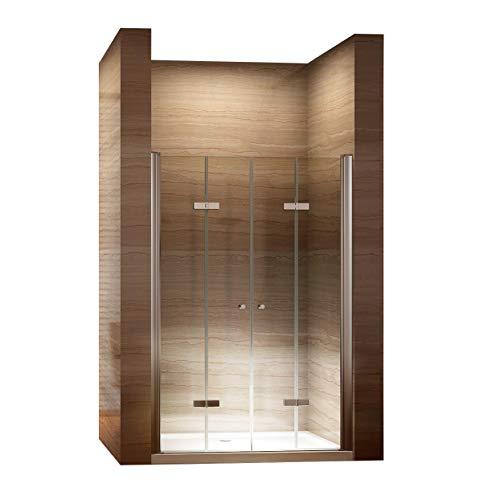 i-flair Falttüren, Verstellbereich von 76-80 cm, Duschtüren mit 6mm nanobeschichtetem Sicherheitsglas
