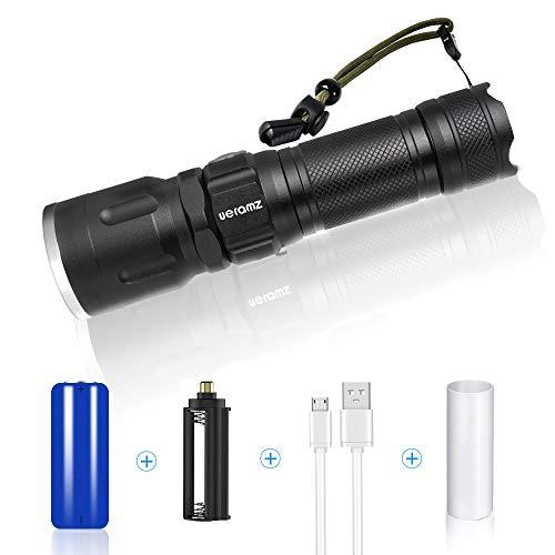 LED Taschenlampe Extrem Hell mit Akku - Cree XHP50 Chips - Wiederaufladbar - Kompakte Taschenlampe für Camping-, Jagd-, Angeln-, oder Angelausflug