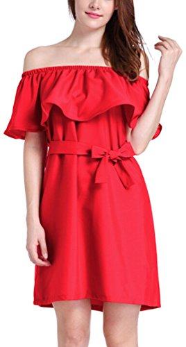 Ghope 2017 Damen Sommer weg von der Schulter Volant kurze Ärmel elegant  Minikleider mit Gürtel Rot ...