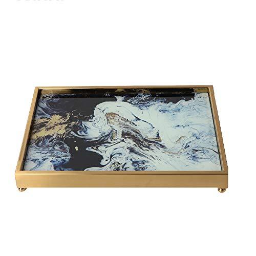 Metall Glas dekorative Tablett, handgefertigte Dekoration Schminktisch Tablett Obst Kosmetik Lagerregal für Parfüm Parfüm Badezimmer Display (Parfüm Spiegel Fach)