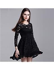 La Sra. Hembra de temperamento Primavera Verano verano cuello redondo manga larga Sra. grabado Vestido encaje vestidos faldas cortas ,negro,M/EU38-YU&XIN