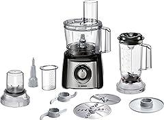 Idea Regalo - Bosch Mcm3501M Robot da Cucina Compatto, 800 W, Plastica, Acciaio Inossidabile, Nero/Argento