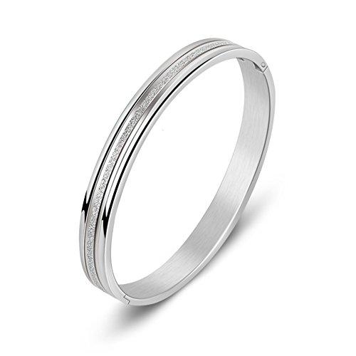 Acciaio al titanio opaco delicato coppia linee semplici Bracciale/ selvaggio moda argento bracciale per gli uomini e le