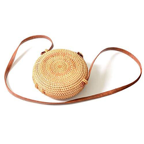 Rattan Schultertaschen Runden Wicker Gewebte Handtasche Schulter Tasche Stroh Geldbörse für Strand Handy tragen (2) -