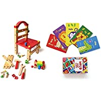 Shumee Wooden DIY Tools Chair and Forest Animal Snap Cards Combo- Constructive and Educational Toys (Age 3 Years+)