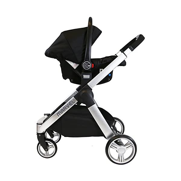 iSafe Marvel 3 in 1 Travel System with Car Seat & Carrycot & Luxury Changing Bag (Black Pearl) iSafe Complete With Free Carseat & Carrycot & Luxury Changing Bag Complete With Free Stroller Raincover Complete With Free Stroller Boot Cover 6