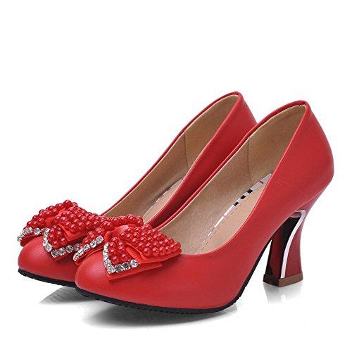 VogueZone009 Femme Matière Souple Tire Rond à Talon Haut Mosaïque Chaussures Légeres Rouge