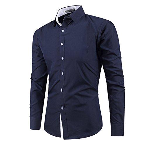... Kuson Herren Hemd Slim Fit Bügelleicht kentkragen Hemden mit Kontrasten  Navy Blau ...