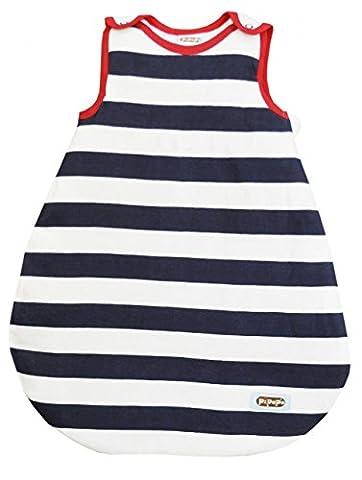 PiPaPo Gigoteuse pour bébé rayée marine/blanc avec inscription au choix,