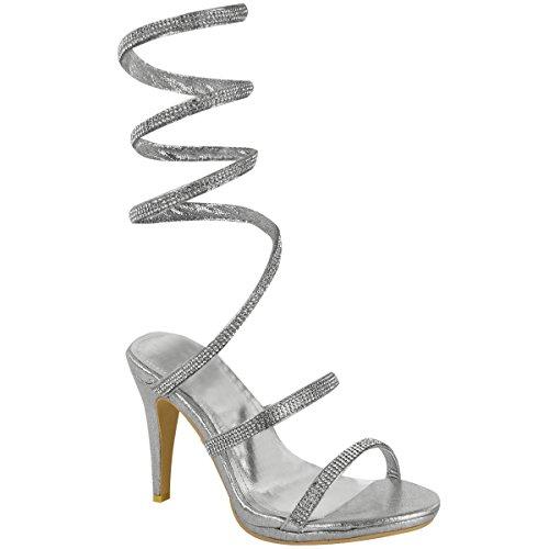 0ddccfe8d776cb Escarpins sandales - talons hauts - femme - avec strass - tailles 36 à 41  Argenté