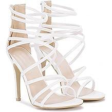 Las Mujeres Blancas Imitación Sandalias De Tiras Tacón Tobillo Correa Zapatos De Tacón Alto Zapatos De Cuero De UK6/EURO39/AUS7/USA8