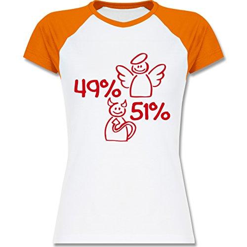 Shirtracer Sprüche - 49% Engel - 51% Teufel - Zweifarbiges Baseballshirt/Raglan T-Shirt für Damen Weiß/Orange