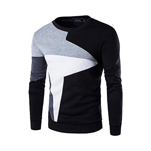 TWBB Herren Sweatshirt Hemd Patchwork Printed Slim-Fit Freizeit Shirt Langarm Oberteile Männer Tops T-Shirt