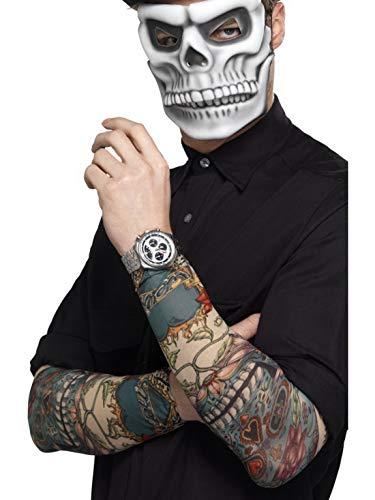 Halloweenia - Herren Day of The Dead Tag der Toten Tattoo Ärmel im bunten 2er Pack, Kostüm Accessoires Zubehör, perfekt für Halloween Karneval und Fasching, Mehrfarbig (Evil Dead 2 Kostüm)