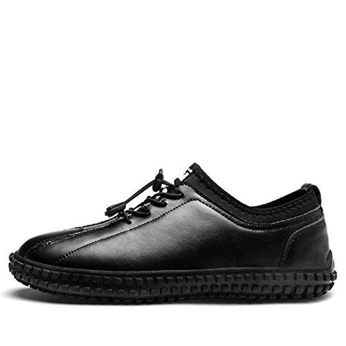 Uomo Moda Tempo libero Scarpe di pelle Antiscivolo Ballerine formatori Scarpe da lavoro Scarpe casual euro DIMENSIONE 39-44 black