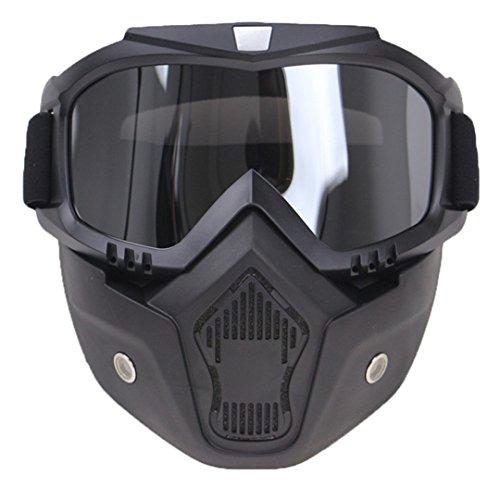 Cascoen professionale retro moto casco goggle mask maschera open face casco cross goggle goggle ce approvato silver