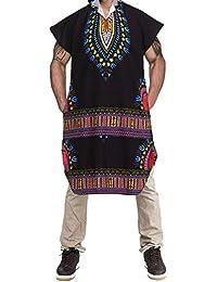 Mens Hipster Hip Hop Sudadera con Capucha Africana Dashiki Pollover Longline Alargada Camiseta 7473