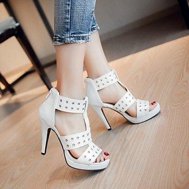 LvYuan Da donna Sandali Finta pelle PU (Poliuretano) Estate Autunno Footing Fibbia A stiletto Bianco Nero Blu 10 - 12 cm White