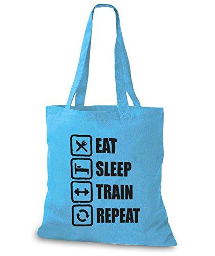 StyloBags Jutebeutel / Tasche Eat Sleep Train Repeat Sky
