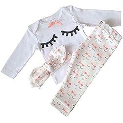 Yilaku Bebé Niñas Conjuntos Blusas y Pantalones y Diadema Pijama algodón Blanco 0-3 Meses
