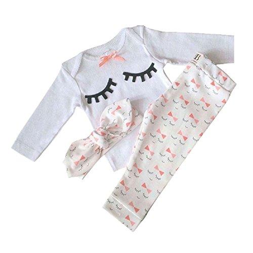Yilaku Bébé Fille Vêtements Ensembles Pantalons et Haut Mignonne cil Blanc 3 Mois