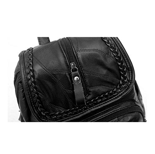 Rucksack Damenmode Nähte Reisetasche Black