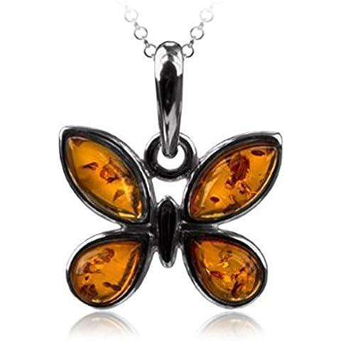 Noda Ambar Plata Esterlina Mariposa Colgante Cadena 46 cm