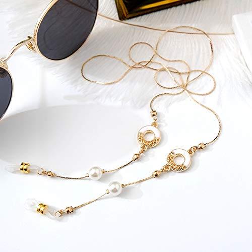 Frauen Sonnenbrille Halskette aushöhlen Farbe Keramik Glasur Kreis Brillen Lanyards Mädchen Anti-Rutsch-Retro-Brille Ketten-inBrillenzubehörvon Apparel Accessories, White