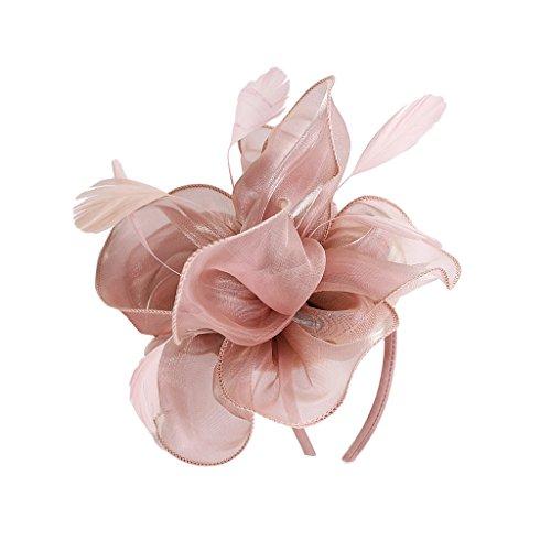 Baoblaze cerchietto con fiore da sposa cappello 1920s gatsby stile vintage cosplay halloween - rosa, come descritto