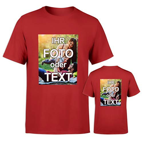 T-Shirt mit eigenem Foto Text Logo Name selbst gestalten * ringgesponnene Baumwolle * vollfarbig EINSEITIG Bedruckt * viele Farben, Farbe:Rot, Größe:XL -