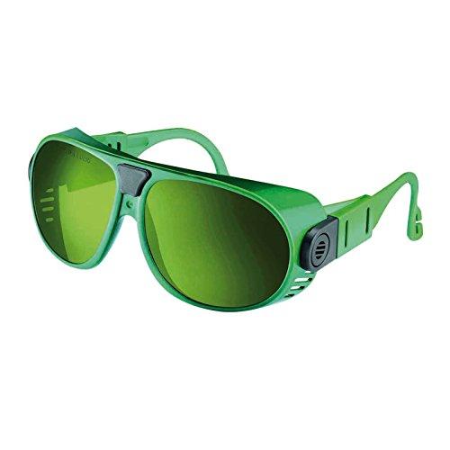 Schutzbrille MALIBU Nylon Gläser klar oder grün getönt Schutzstufen DIN 1.7 / 5, Bügel frei verstellbar Schweißbrille, Schleifbrille, Schweißschutzbrille, Schutzstufe:DIN 5