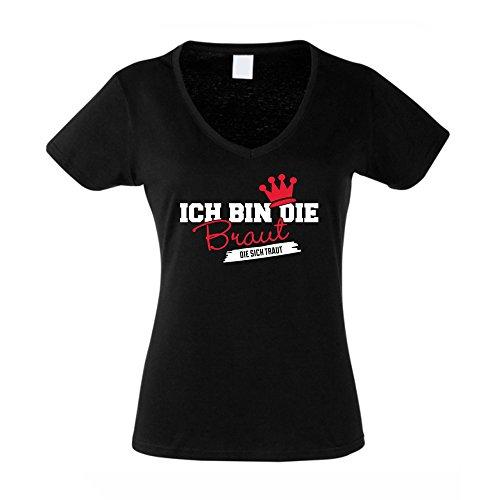 Damen T-Shirt mit V-Ausschnitt Zum JGA - Ich Bin die Braut die Sich Traut, Schwarz-Rot, M