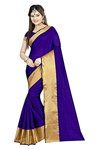 Visva Fashion Women's Kalamkari Khadi Silk Saree With Blouse (Blue)